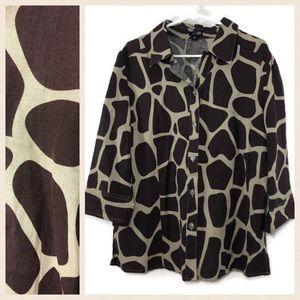 East 5th Giraffe Print Linen Button Down Shirt